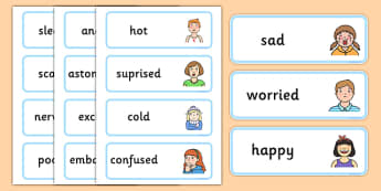 Large Detailed Emotions and Feelings Word Cards - large, detailed, emotions, feelings, word, cards, word cards, detailed emotions, detailed feelings, body