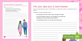 My Ideal Plan for Valentine's Day Writing Activity Sheet - Valentine's Day, French, 14th February, Saint Valentin, writing, frame, conditional, conditionnel,
