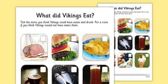 What Did Vikings Eat Photo Worksheet - vikings, what did vikings eat?, what vikings ate, viking food worksheet, viking food photo worksheet, ks2 history