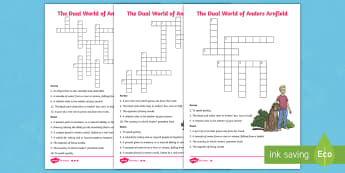 The Dual World of Anders Arnfield Differentiated Crossword - fiction, storybook, puzzle, vocabulary, spelling