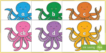 Phoneme Set on Octopus to Support Teaching on The Rainbow Fish - Phoneme set, phonemes, phoneme, Letters and Sounds, DfES, display, Phase 1, Phase 2, Phase 3, Phase 5, Foundation, Literacy