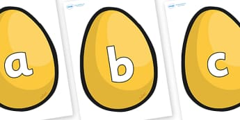 Alphabet on Golden Eggs -  display, Phase 1, Phase 2, Foundation, Literacy, writing, alphabet, abc, jack, beanstalk, golden, easter