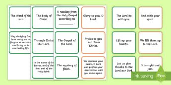 Mass Responses Flashcards - Confession, First Communion Resources, Irish, sacraments, first holy communion