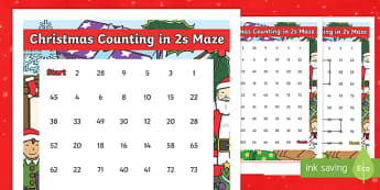 Christmas Counting in 2s Maze Activity