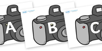 A-Z Alphabet on Cameras - A-Z, A4, display, Alphabet frieze, Display letters, Letter posters, A-Z letters, Alphabet flashcards