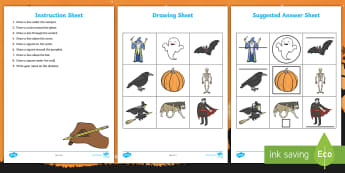 Halloween Themed Listen and Do 3: Three Word Level Activity -  - Halloween Themed Listen and Do 3: Three Word Level Activity, listen, memory, draw, special education