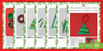 Manualidad navideña: Árbol de Navidad de palitos de polo Instrucciones paso a paso - manualidad, manualidades, navidad, navidades, palos de polo, palitos de polo, palo, palos, palitos,