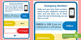 Numbers to Call in an Emergency in South Africa Display Poster - Emergency, call for help, fire safety, police, ambulance, numbers