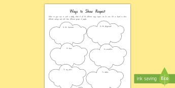 Respect Activity Sheet - New Zealand Back to School, class culture, respect, values, key competencies, back to school, class
