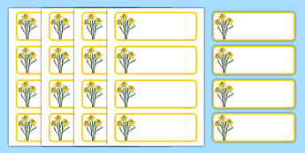 Daffodil Themed Editable Drawer-Peg-Name Labels (Blank) - Themed Classroom Label Templates, Resource Labels, Name Labels, Editable Labels, Drawer Labels, Coat Peg Labels, Peg Label, KS1 Labels, Foundation Labels, Foundation Stage Labels, Teaching Lab
