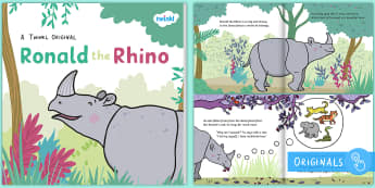 Ronald the Rhino eBook - Ronald the Rhino, rhyming, pattern, story, jungle, Africa, rhino,