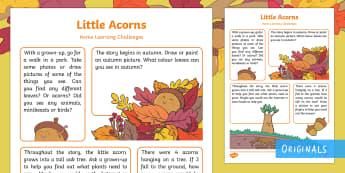 Little Acorns Home Learning Challenges Nursery FS1 - EYFS, Little Acorns, Twinkl Originals, Twinkl Fiction, Autumn, Seasons, Plants and Growth, Growing,