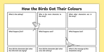 Aboriginal Dreamtime How the Birds Got Their Colours Writing Activity Sheet-Australia, worksheet