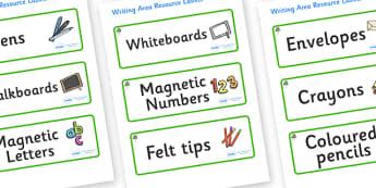 Eucalyptus Themed Editable Writing Area Resource Labels - Themed writing resource labels, literacy area labels, writing area resources, Label template, Resource Label, Name Labels, Editable Labels, Drawer Labels, KS1 Labels, Foundation Labels, Founda