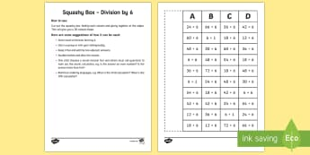 Squashy Boxes Division by 6 Craft - Mental Maths Warm Up + Revision - Northern Ireland, squashy boxes, division, divide by six.