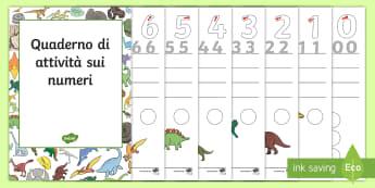 Quaderno di esericizi sui numeri (dinosauri) Attività - numeri, formare, 0, 20, scrivere, contare, matematica, dinosauri, italiano, italian, materiale, scol