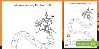 Halloween Spooky House Missing Numbers to 20 Activity Sheet - Halloween, missing numbers, numeracy, activity sheet, math worksheet