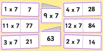 7 Times Table Cards - multiplication, seven, visual, cards, times table, times tables