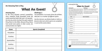 What An Event! Activity Sheet, worksheet