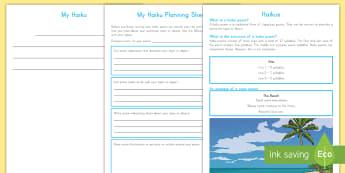 Haiku Poem Writing Template - writing, templates, haiku, English, poems ,Australia