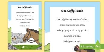 Hwiangerddi Cymreig Gee Ceffyl Bach - Hwiangerddi Cymreig (Welsh Nursery Rhymes) Gee Ceffyl Bach, cerdd, cerddoriaeth, poster, arddangos,