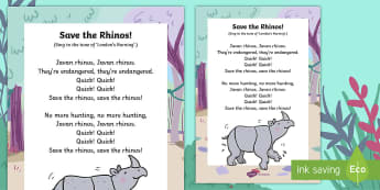 Save the Rhinos Song Lyrics - Ronald the Rhino, children's book, rhyme, story, rhyming couplets, syllables, Leopard, Python, uniq