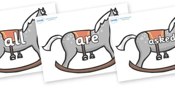 Tricky Words on Rocking Horses - Tricky words, DfES Letters and Sounds, Letters and sounds, display, words