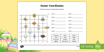 Easter Themed Coordinates Differentiated Activity Sheets - KS2, Maths, worksheet, year 4, first quadrant, reading coordinates, fun maths