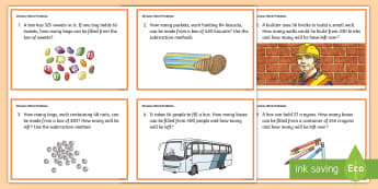 Division Word Problem Challenge Cards - Problem Solving, Long, Decimals, Early finishers, Station Teaching, Irish