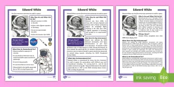 KS1 Edward White Differentiated Reading Comprehension Activity - Space Week, World, Information, Non-fiction, Astronaut, Space
