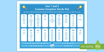 Common Exception Words Years 1 and 2 Alphabet Word Mat - Common Exception Words Years 1 and 2 Word Mat - common exception, words, year 1, year 2, word mat, c