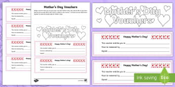 CfE Mother's Day Vouchers Activity Sheet-Scottish - CfE Mother's Day March 26th, events, mothers day vochers, mothers day activities, mothers day, cfe