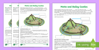 Motte and Bailey Castles Cloze Differentiated Activity Sheets - normans, worksheet, medieval, middle ages, assessment, cloze test, history, SESE,Irish