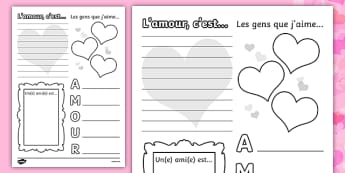 Valentine's Day Worksheet French - french, worksheets, worksheet, work sheet, valentines day, valentines, valentines worksheet, acrostic poem worksheet, people I love worksheet, sheets, activity, writing frame, filling in, writing activity