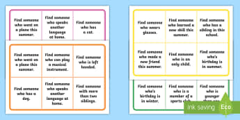 Getting to Know You Bingo - ROI Back to School Resources, SPHE, getting to know you, teamwork, team building, ice breaker, back
