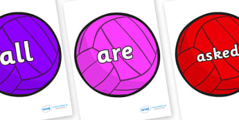 Tricky Words on Water Polo Balls - Tricky words, DfES Letters and Sounds, Letters and sounds, display, words
