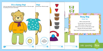 Dress Ted  Busy Bag Prompt Card and Resource Pack - clothes, EYFS, toddler play, toddler activity, quiet time activity, outfits, trousers, jumper, hat,