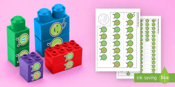 Caterpillar Numbers to 20 Connecting Bricks Game - EYFS, Early Years, KS1, Connecting Bricks Resources, duplo, lego, plastic bricks, building bricks, l