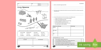 KS3 Energy Resources Homework Activity Sheet