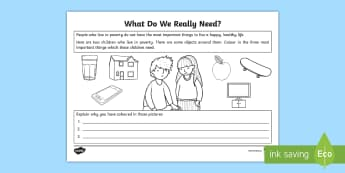 What Do We Really Need? Activity Sheet - world's largest lesson, wider world, citizenship, healthy life, needs, worksheet