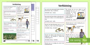 Afrikaans Taal Reëls Verkleining Notas - Afrikaans Taal Reëls, verkliening, Afrikaans revision, exam study notes, reteaching, taal,