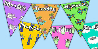Fantasy Themed Days of the Week Bunting - fantasy themed, days of the week, days of the week bunting, fantasy themed bunting, bunting