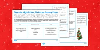 Twas the Night Before Christmas Sensory Poem - twas the night before christmas poem printable