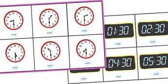 Analogue and Digital Half Past Time Bingo - Time bingo, analogue, digital, time game, Time resource, Time vocaulary, clock face, Oclock, half past, quarter past, quarter to, shapes spaces measures, numeracy, time, clocks, analogue, digital, bingo