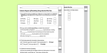 Indicate Degrees of Possibility Using Adverbs Test - GPS, adverbs, possibility, adverb types, spag, grammar, ks2, key stage 2, assess