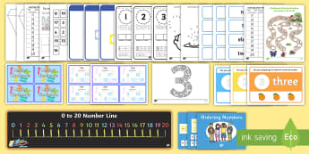 Numbers to 20 Resource Pack - one more, one less, ordering, missing numbers, writing numbers,