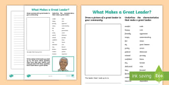 What Makes a Great Leader? Activity Sheet - leader, mandela, make a good leader, writing activity, characteristics, worksheet, role model, commu