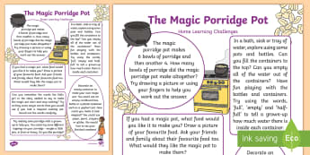The Magic Porridge Pot Home Learning Challenges Reception FS2 - EYFS, Early Years, Homework, cooking, Traditional Tales, Fairy Tales.