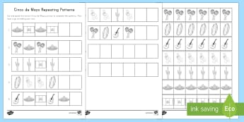 Cinco de Mayo Repeating Patterns Activity Sheet - Cinco de Mayo, Patterns, Cut and Paste, pattern, repeat, complete the pattern,Worksheet