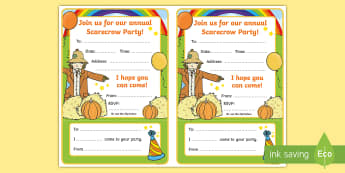 Scarecrow Party Editable Invitation Cards - scarecrow party invitations, fall, autumn